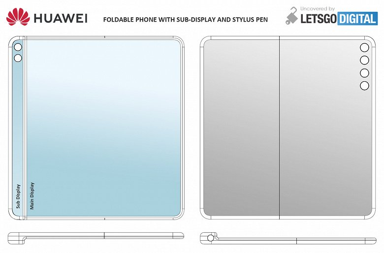 This is what a bending Huawei smartphone looks like with a narrow secondary display and stylus