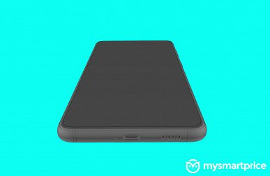 Samsung Galaxy S21 + with flat screen poses in renders
