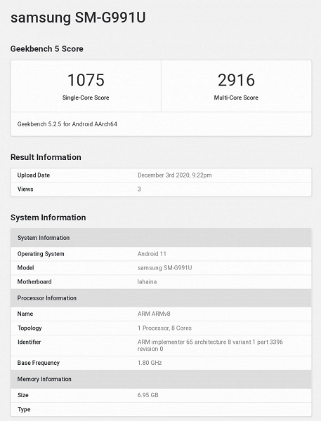 Samsung Galaxy S21 with Snapdragon 888 spotted in Geekbench, but test result is not impressive