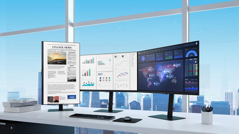 Samsung introduced a dozen monitors with resolutions up to 4K, HDR10, screen rotation and other