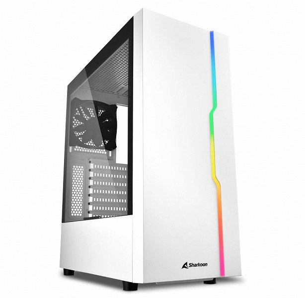 Sharkoon RGB Slider White case painted white with addressable lighting