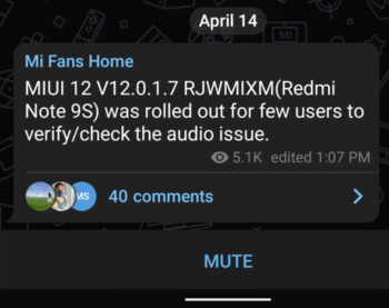 Redmi Note 9S sound problem will be solved in the latest MIUI 12 update